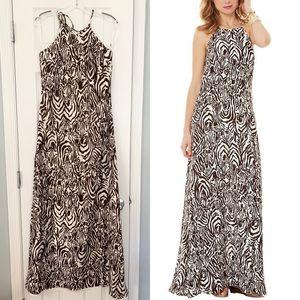 Lilly Pulitzer cream brown Angel zebra maxi dress